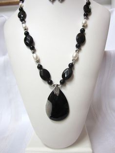 Dark as Night Necklace of Black Onyx, Fresh Water Pearls and Swarovski Crystals featuring a Pear Shaped Drusy Agate Pendant, OOAK, Unique