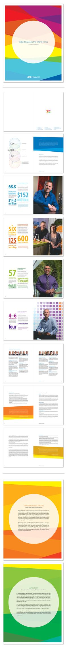ATB Financial 2013 Annual Report Kelly Nyvoll  The concept and design was created to play off of the vibrancy of ATB Financial's 75th anniversary logo. The goal was to create a report that had a unique and 'unexpected' look for a financial institution.