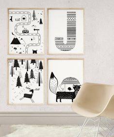 Nursery Road Map, Black and White Kids Room Ideas, Scandinavian Nursery Art, Kids Bedroom Decor, Pla Nursery Prints, Nursery Art, Nursery Decor, Bedroom Decor, Canvas Headboard, Badger Illustration, White Kids Room, Baby Room Wall Art, Grey Home Decor