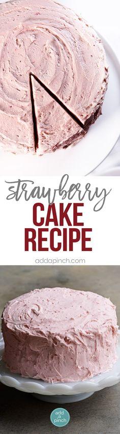 Strawberry Cake Recipe - Strawberry Cake made from scratch! This strawberry cake recipe is perfect for those looking for a homemade fresh strawberry cake. // addapinch.com