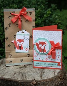 foxy friends Stampin Up SU Kids Cards, Baby Cards, Card Making Inspiration, Making Ideas, Foxy Friends Punch, Stampin Up Catalog, Marianne Design, Stamping Up Cards, Animal Cards