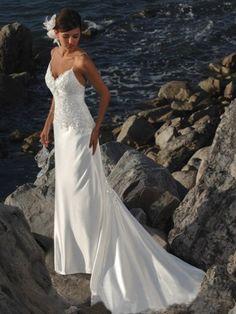 2012 Spring Style Sheath / Column Spaghetti Straps  Applique  Sleeveless Sweep / Brush Train Elastic Woven Satin White Wedding Dress For Brides
