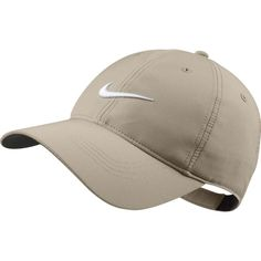 Nike Tech Swoosh Cap - Variety Of Colors Available (Khaki) ($22) ❤ liked on Polyvore featuring accessories, hats, khaki hat, nike cap, khaki cap, cap hats and nike hat