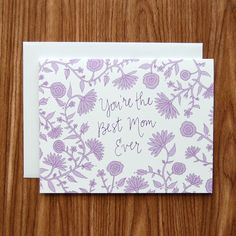 You're the Best Mom Lavender Flowers Card from Happy Cactus Designs