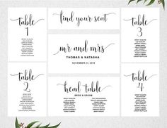 Wedding Seating Chart Template INSTANT DOWNLOAD Plan