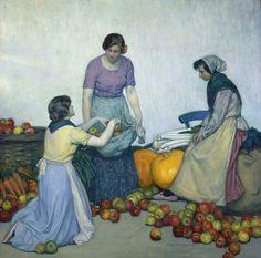 Myron G. Barlow 1873 1937  (peintre Américain )  Apples
