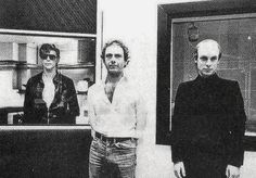 """David Bowie, Brian Eno and Robert Fripp during the recording of """"Heroes"""" in 1977"""