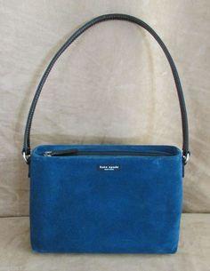 Kate Spade classic handbag blue suede leather strap womens purse #katespade #Satchel