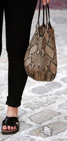 No doubt about how this bag can dress up any #outfit - Python Bag