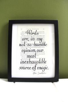 Harry Potter quotations printed over an up cycled page from Harry Potter and the Deathly Hallows. All quotations are done by freehand; no stenciling is used. Each page measures approximately 9 x 5 3/4 inches.  Please specify in your order which quotation you would like. You can also request a quotation not pictured above or customization. If there is a particular chapter of Harry Potter and the Deathly Hallows that you are fond of, please dont hesitate to ask if it is available for your…