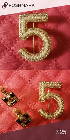 NEW:CHANEL #5 BROOCH Elegant CHANEL #5 BROOCH great for any occasion EXCELLENT QUALITY, NO TRADES get yours while supplies last (Make me an offer)will also make a wonderful Xmas gift 😃 Elegant Brooches  Jewelry Brooches