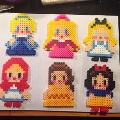 Disney Princess (Cinderella, Aurora, Belle and Snow White) and Alice and Little Red Riding Hood perler beads by Katie Binesh