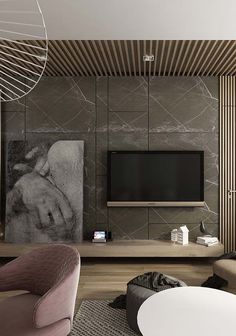 theaters Painel theaters Simple Large Living Room Frames: Discover 60 Creative Ideas With Photos!- The painting's intriguing hand stands out in front of the marble wall, bringing a contrast between the modern figure and the classic Living Room Wall Units, Living Room Tv Unit Designs, Living Room Modern, Home Living Room, Modern Bedroom, Home Theater Room Design, Home Theater Rooms, Painel Tv Sala Grande, Tv Wall Design
