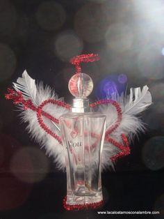 Angelito para San Valentín realizado con frasco de perfume - Lo Atamos Con Alambre -www.lacaloatamosconalambre.com