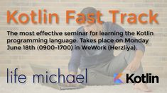 On Monday, June 18th (0900-1700) I will deliver a seminar for learning the Kotlin programming language. It will take place in WeWork (Herzliya Pituach). There are still available seats. The seminar includes lunch. The seminar is for experienced OOP developers only. Highly relevant for Android developers. More info and registration at https://loom.ly/zZXsYHU