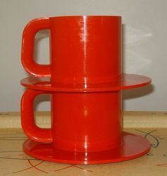 Your place to buy and sell all things handmade Orange Mugs, Plastic Mugs, 2 Set, Orange Color, Are You Happy, Tableware, Vintage, Etsy, Design