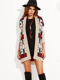 Shop Multicolor Tribal Pattern Drop Shoulder Open Front Cardigan online. SheIn…
