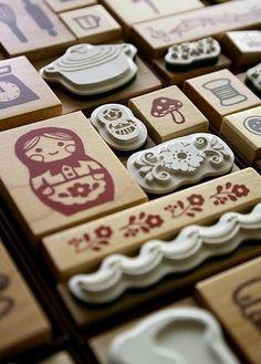 Russian doll stamps hacer sellos para el papel personalizado-reciclado ... Podrían ser sellos de yeso