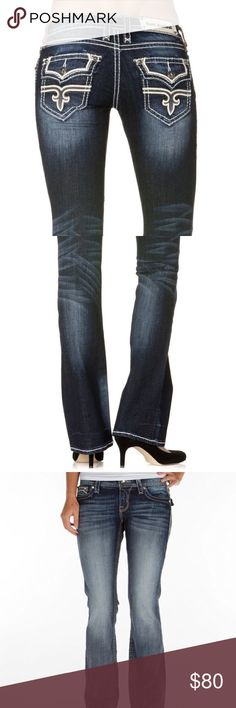 """Rock Revival • Posey easy boot stretch Jean Rock Revival """"Posey"""" easy boot stretch denim jeans. Medium/light wash. Silver hardware. Size 29. Great condition! Inseam 33"""", waist 14.5"""", rise 8"""", hips 17.5"""", leg opening 8.5"""". Rock Revival Jeans Boot Cut"""