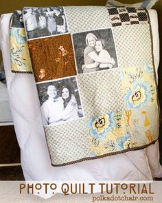 photo quilt tutorial...priceless. Patchwork Quilting, Quilting Tips, Quilting Tutorials, Quilting Projects, Sewing Projects, Foto Quilts, Cadeau Grand Parents, Diy Instagram, Fabric Crafts
