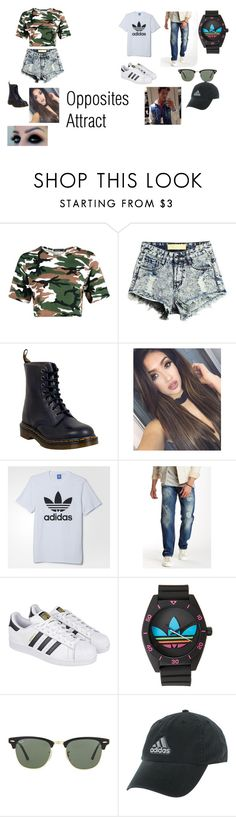 """""""Untitled #4"""" by allimishelle on Polyvore featuring Dr. Martens, adidas, Gilded Age and Ray-Ban"""