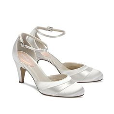 Pink by Paradox London Ivory satin 'Fresh' round toe with ankle strap- | Debenhams