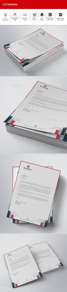 #Letterhead - Stationery Print #Templates Download here: https://graphicriver.net/item/letterhead/19421547?ref=alena994