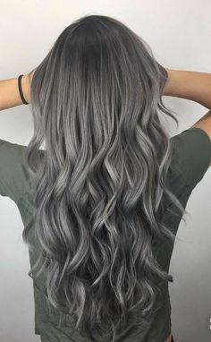 Hair Styles For School Cute Hairstyles Ideas , Trendy Hairstyles , Latest hair color , Hair color 2018 . Hair Color 2018, Latest Hair Color, Ombre Hair Color, Hair Color Balayage, Auburn Balayage, Hair 2018, Dark Grey Hair Color, Gray Balayage, Grey Hair Colors