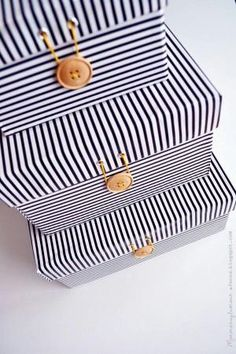 Storage Boxes=Shoe Boxes covered with Fabric and a Button by LilacH