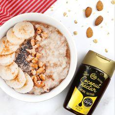 Drizzle coconut nectar on hot porridge Coconut Nectar Recipes, Oatmeal, Organic, Breakfast, Hot, The Oatmeal, Morning Coffee, Rolled Oats, Overnight Oatmeal