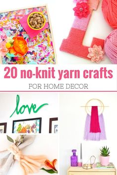 20 No Knit Yarn Crafts for Home Decor. Gorgeous DIY decor that will give your home a pop of color TODAY! via @merry120