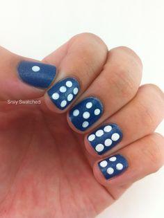 Blue dice nail art
