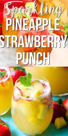 Try this Sparkling Pineapple Strawberry Punch for your next party! Sweet pineapple juice is paired with bubbly ginger ale, fresh fruit and mint for a refreshing non alcoholic punch! Alcoholic Punch Recipes, Drink Recipes Nonalcoholic, Fruit Juice Recipes, Alcohol Drink Recipes, Sweet Alcoholic Drinks, Non Alcoholic Drinks With Pineapple Juice, Non Alcoholic Drinks For Wedding, Drinks With Mint, Snacks