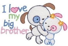 I Love My Big Brother Puppies - 2 Sizes!   Words and Phrases   Machine Embroidery Designs   SWAKembroidery.com Bunnycup Embroidery