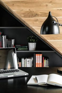 Situated in a row house of the Okrezna Attic has been a tiny not used attic, and then it was rebuilt into the main bedroom by Raca Architekci. Grey Furniture, Living Furniture, Furniture Making, Home Furniture, Apartment Layout, Attic Apartment, Cosy Room, Attic House, Interior Architecture
