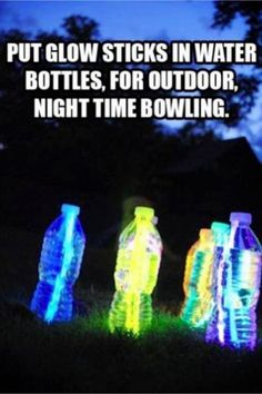Summer birthday party Ideas! Fun and EASY Summer Activities for Kids - put glow sticks in waters bottles for nighttime outdoor bowling or just for glow in the dark fun.  Cute party idea too!