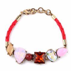Bransoletka z kryształami na czerwonym rzemyku
