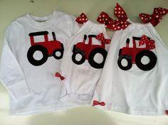 Custom order for Kim matching Sister,  Red Tractor Onesie or t- shirt. So cute for your little farmer girl. via Etsy