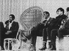 Left to Right: Bobby Seale, Stokeley Carmicle, Rap Brown, James Fooman at February 1968 Free Huey Birthday Ralley.