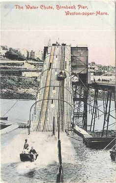 Vintage Postcard of Birnbeck Pier Water Chute North Somerset, Weston Super Mare, British Seaside, Private Games, Bristol City, Game Reserve, Vintage Photography, Vintage Travel, Great Britain