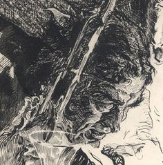 Joseph Clement Coll (close-up of pen & ink illustration)