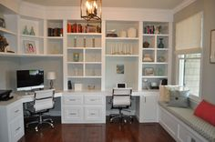 my office, custom built ins, window seat, roman shades