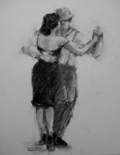 Connie Chadwell's Hackberry Street Studio: Another Tango in Black and White - original charcoal figurative drawing