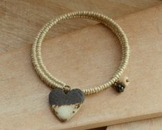 Memory Wire Wrap Cream Seed Bead Bracelet with Ceramic Black Cream Heart £11.00