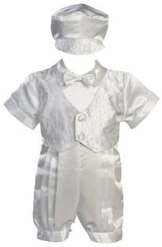 White Satin Christening Baptism Romper with Vest and Matching Hat - S (3-6 Months)