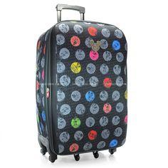 Mala de Viagem Primicia Mickey Grafite  com tampas moldadas em E.V.A que conta também com bolso traseiro com fecho em zíper.Além de ser estampada com costuras do Mickey!