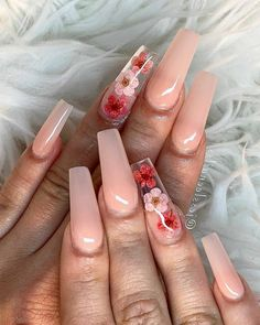 Nail Designs 89 trendy coffin nails design ideas page 38 Summer Acrylic Nails, Best Acrylic Nails, Acrylic Nail Designs, Spring Nails, Summer Nails, Neutral Acrylic Nails, Baby Pink Nails Acrylic, Foil Nail Designs, Coffin Nails Designs Summer