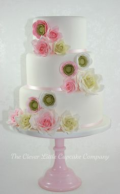 Rose and Ranunculus Wedding Cake