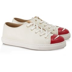 Pre-owned Charlotte Olympia Lips Sneakers ($600) ❤ liked on Polyvore featuring shoes, sneakers, white, charlotte olympia sneakers, white sneakers, white leather sneakers, lace up shoes and white trainers