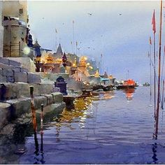 Акварель – Foto(s) Watercolor Artwork, Gouache Painting, Watercolor Landscape, Landscape Paintings, Great Paintings, Indian Paintings, Lake Painting, Art Techniques, Fine Art